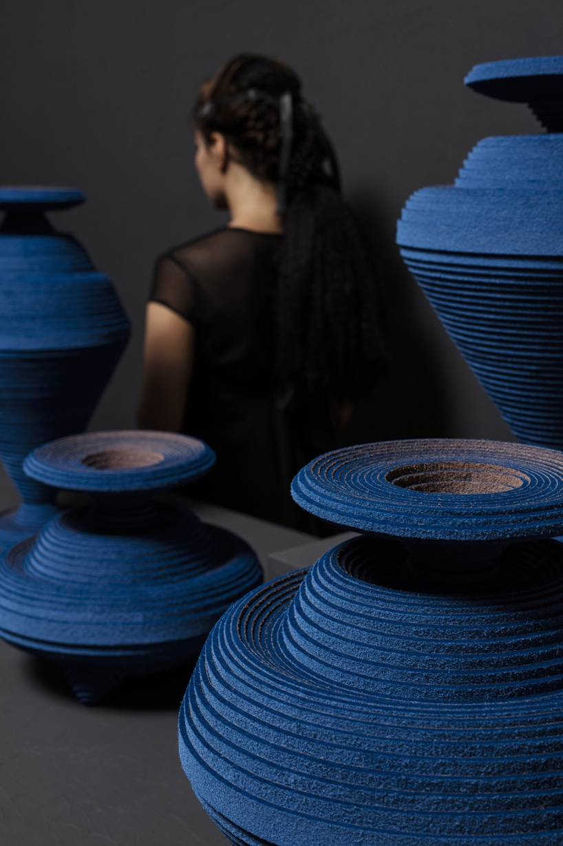 """Blue Alchemy"" vases are made by hand from coiled coloured felt strips."