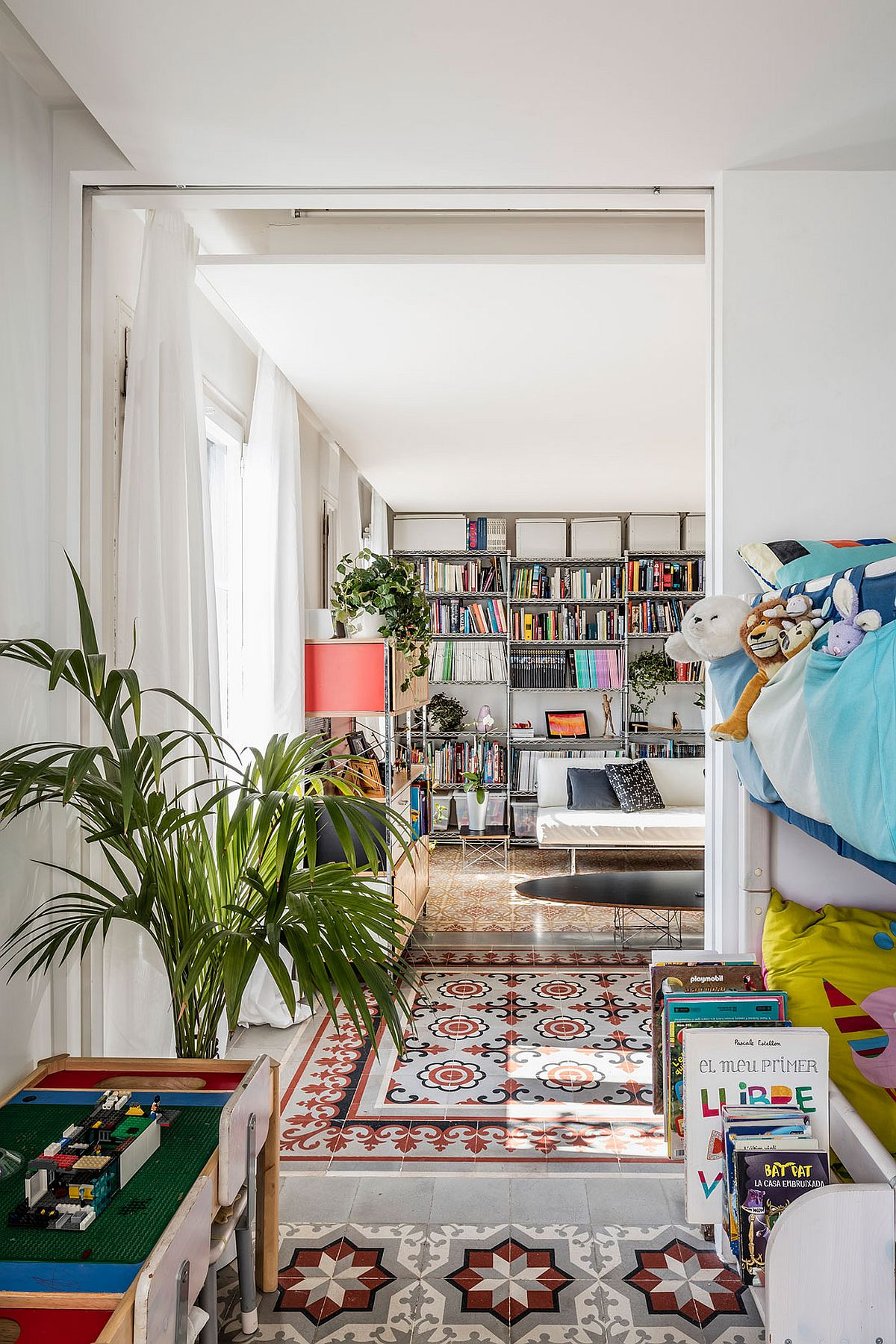 Bookshelf adds color and character to the living area