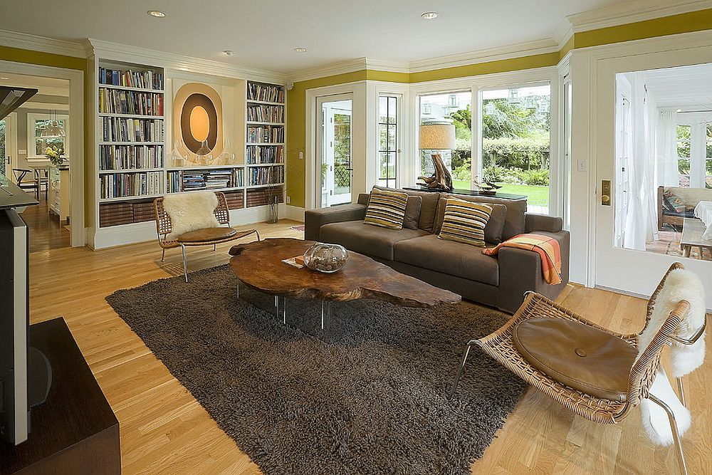 Bookshelf adds color to the elegant living room [Design: Emerick Architects]