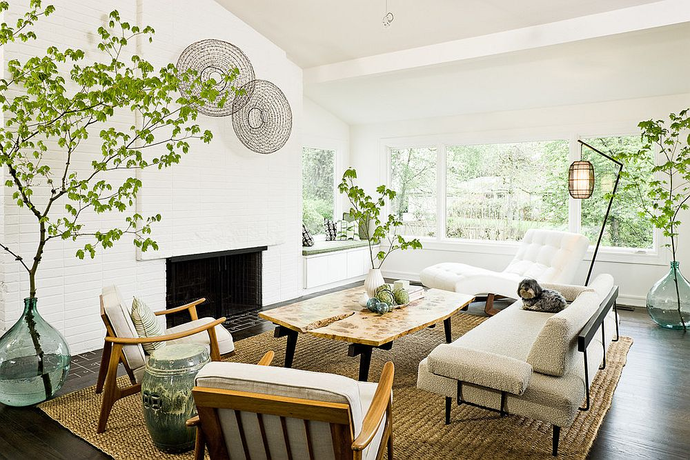 View In Gallery Breezy Mid Century Living Room With Decor That Exudes A Natural Vibe From
