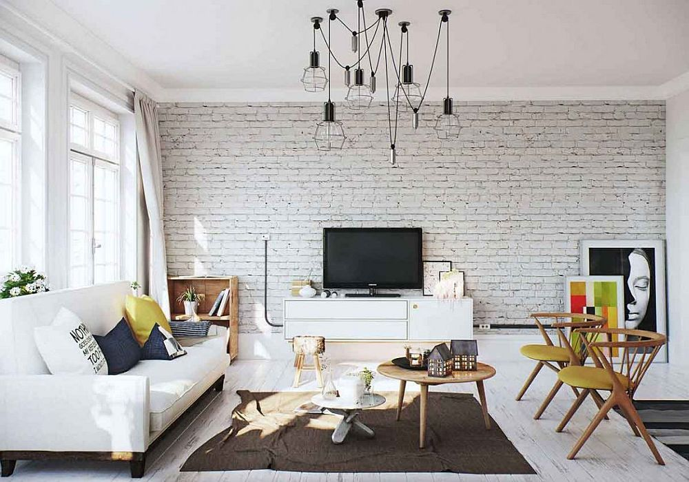 Brick accent wall in the Scandinavian living room Nordic Inspiration: Exquisite Scandinavian Apartment in White