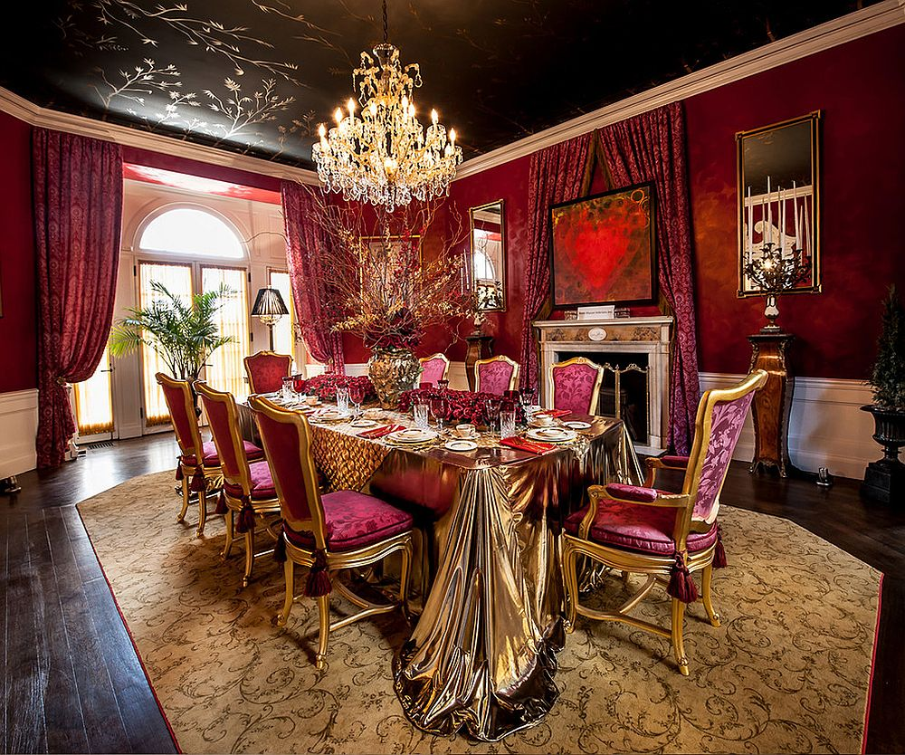 Bright fuchsia on the wall coupled with black on the ceiling in a sensational fashion [Design: Accetra Arts Ltd]