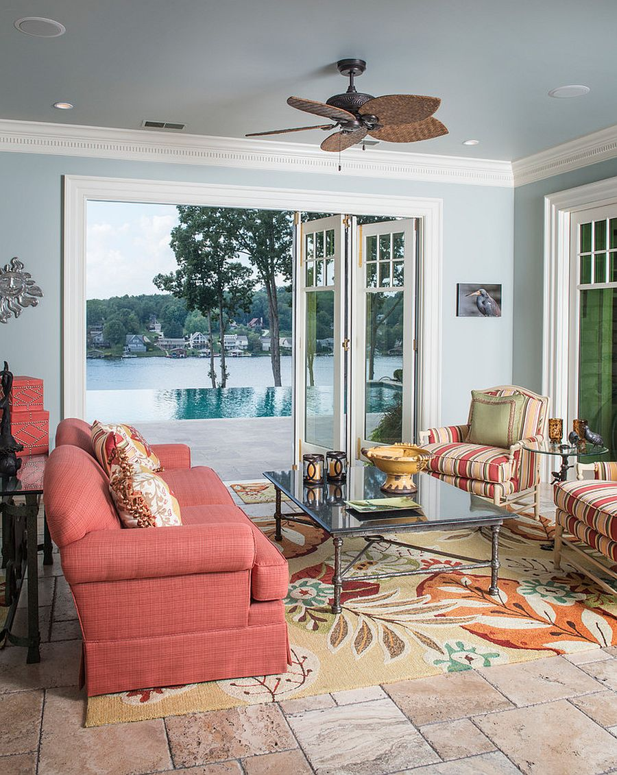 Bright tropical sunroom with a splash of pink [Design: Terri Slee Interiors]