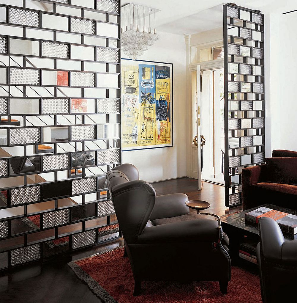 Bronze plates, glass and mirrors shape a stunning room divider [Design: Axis Mundi]