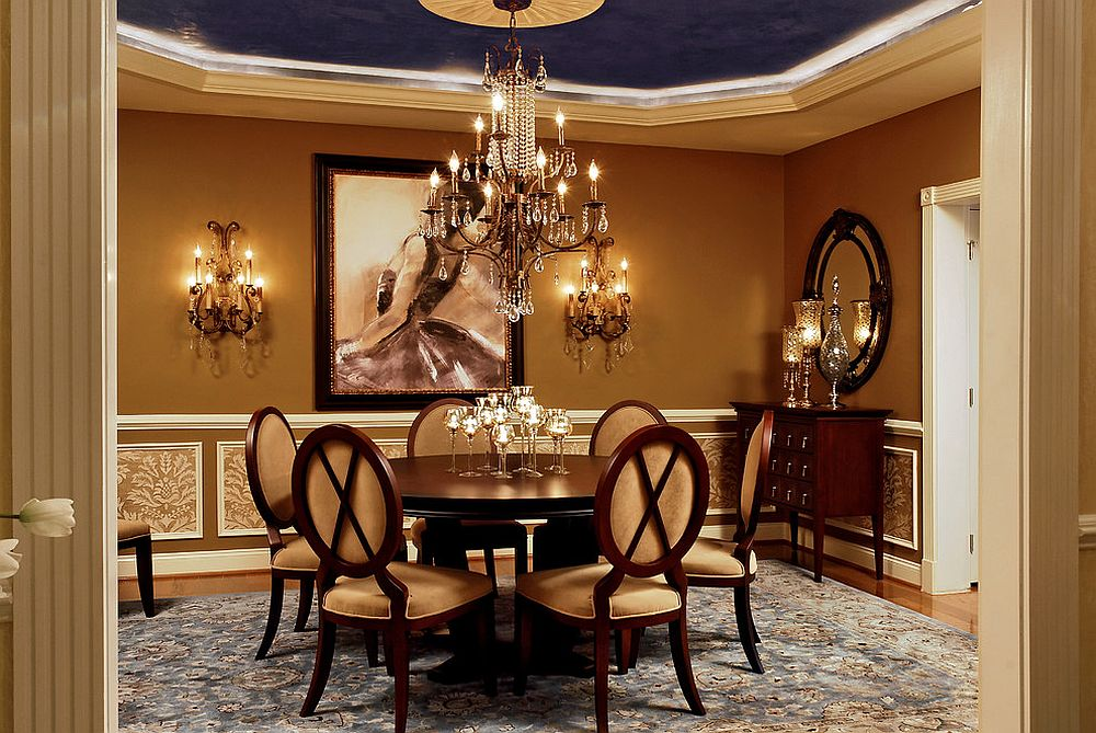 Charming dining room brings Hollywood Regency glam to a Victorian setting [Design: Paula Grace Designs]