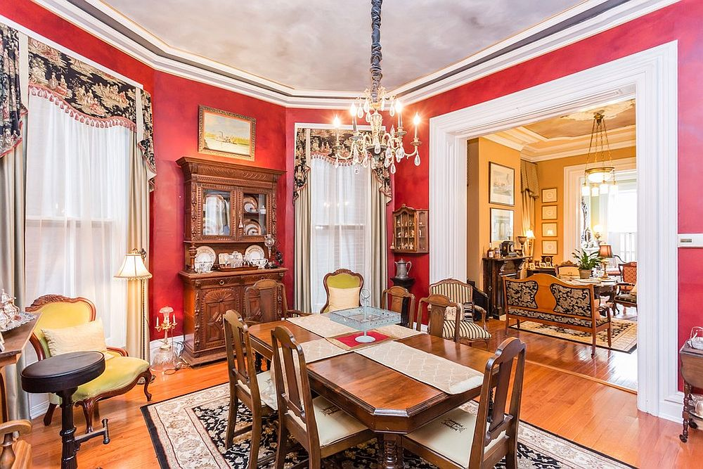 Color, style and refinement radiate from this dashing Victorian dining room [Design: More for Less Remodeling]
