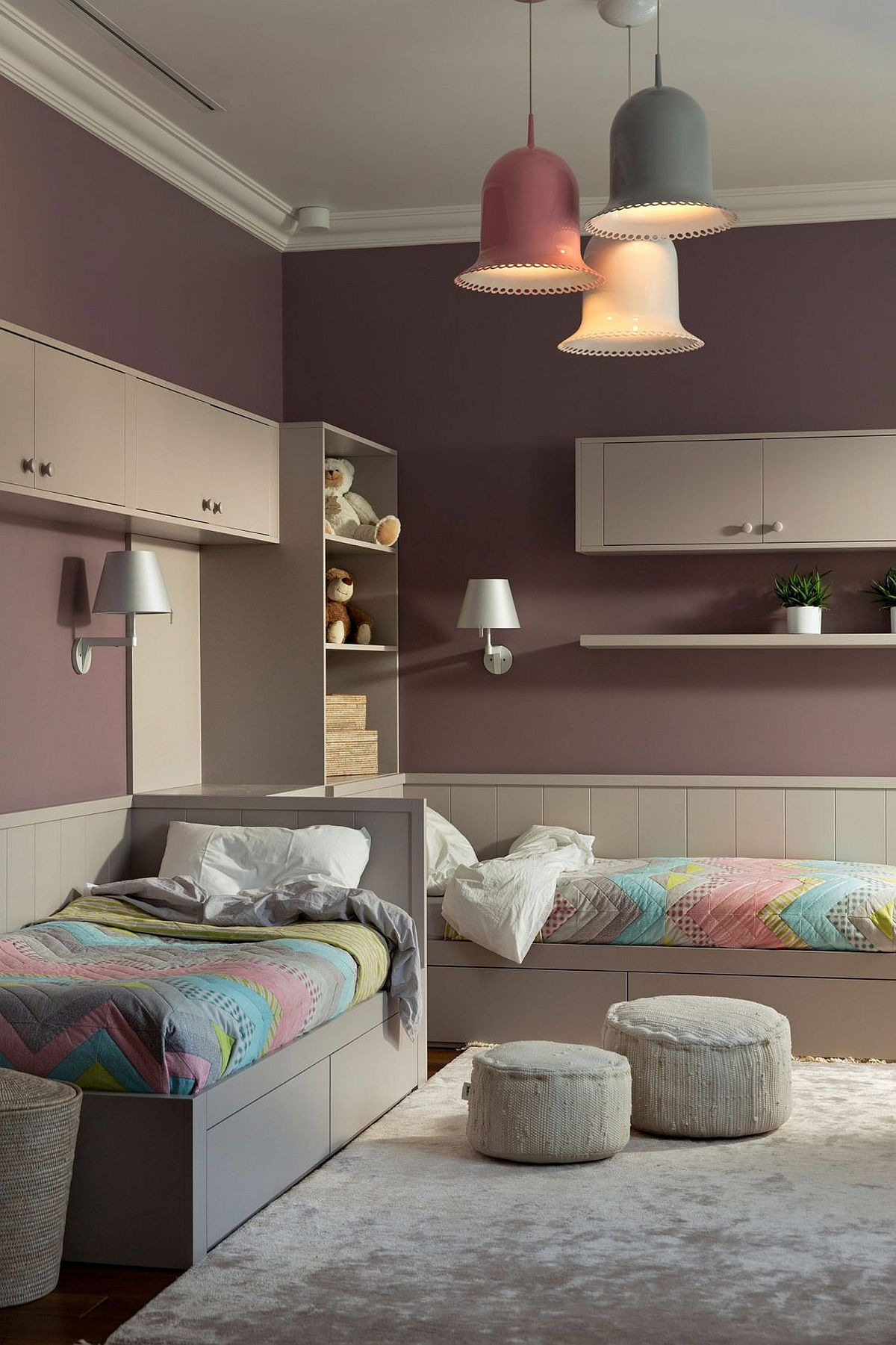 Colorful kids' room with twin beds in the corner