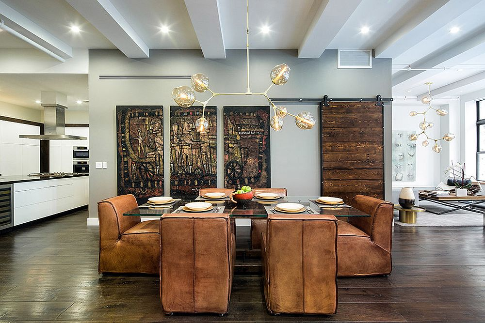 Contemporary dining space of New York home is filled with varied textures and finishes [Design: HGNY]