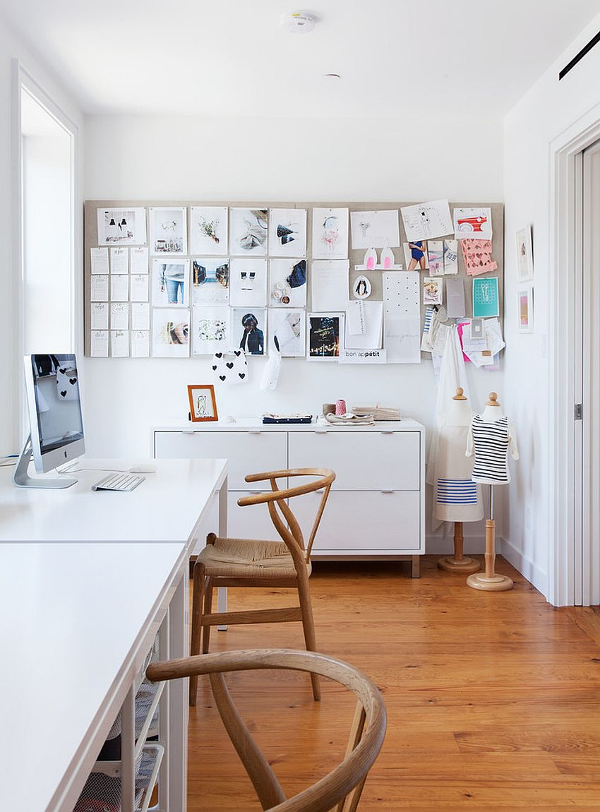Contemporary home office in white with multiple workstations [Design: Bonaventura Architect]