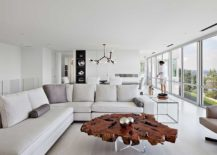 Contemporary living room in white live edge coffee table