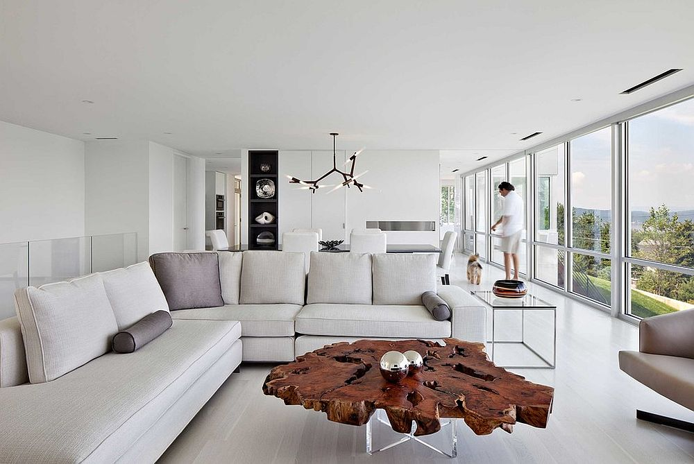 Contemporary living room in white live edge coffee table [Design: Workshop/APD]