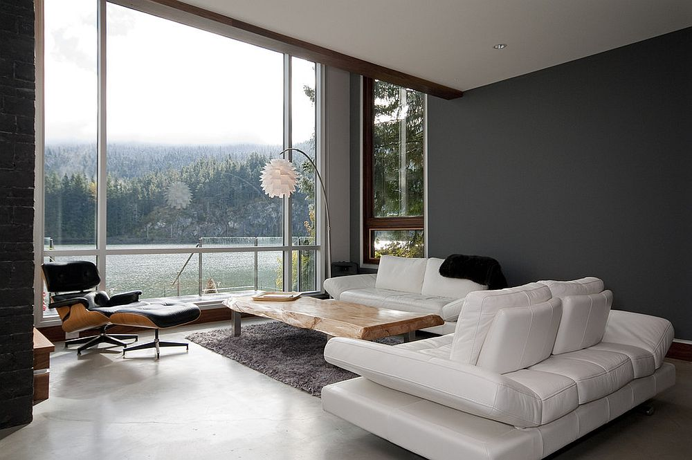 ... Contemporary Living Room With Neutral Color Palette And Live Edge  Coffee Table [Design: Jeff