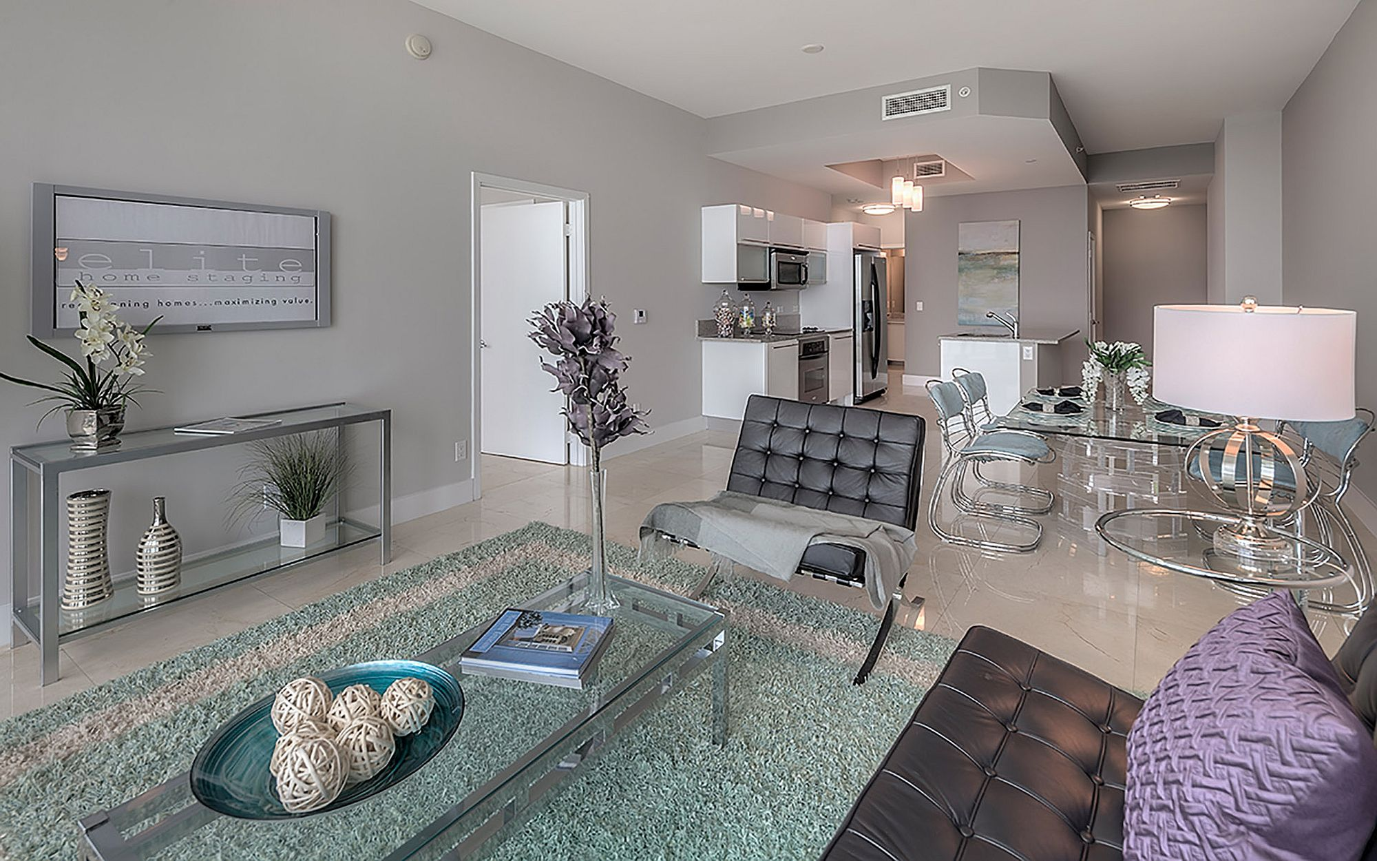 Contemporary living space of the condo at Marinablue