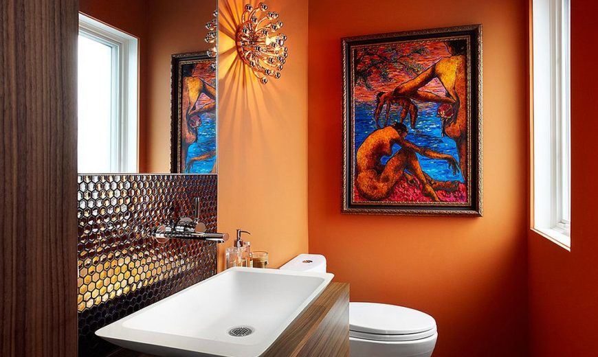 Cheerful Spunk: Enliven Your Powder Room with a Splash of Orange