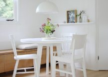 Corner banquette can be used in multiple ways in an open plan living
