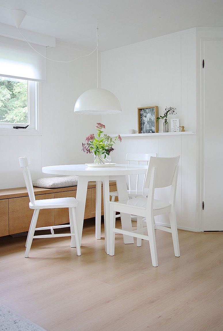 Corner banquette can be used in multiple ways in an open plan living [From: Holly Marder]
