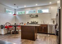 Corner kitchen banquette with Scandinavian style