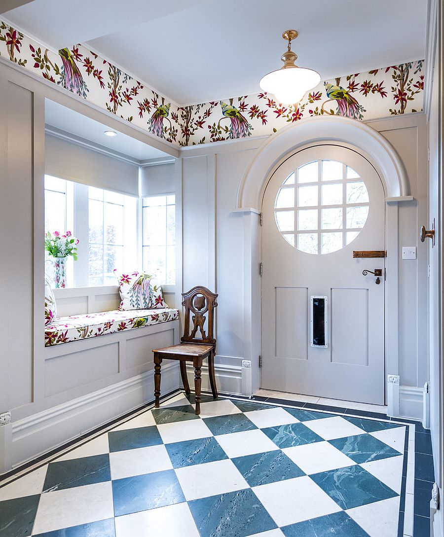 Cottage style coupled with eclectic charm and color in the entry hall [From: Turner Builders]