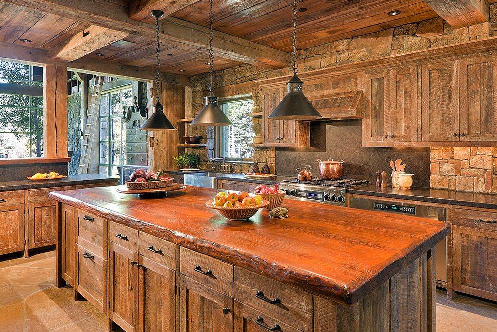 Cozy rustic kitchen filled with reclaimed barn wood [From: JLF & Associates / Ron Johnson Photography]