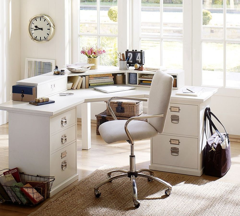 20 ways to decorate home office in white - Pottery barn office desk ...