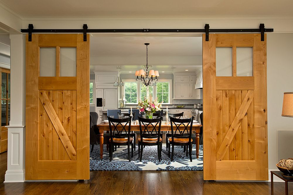 Create an exquisite and striking entrance for your dining room with sliding doors 25 Diverse Dining Rooms with Sliding Barn Doors