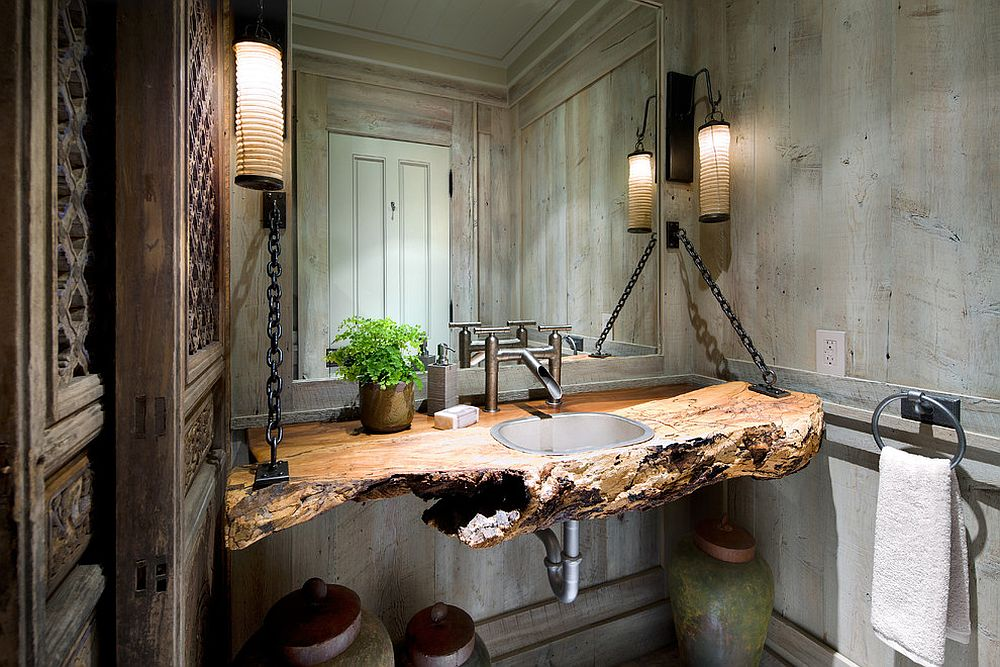 Create your own custom vanity with a slab of wood! [From: Lisa Stevens & Company / Brandon Barre Photography]