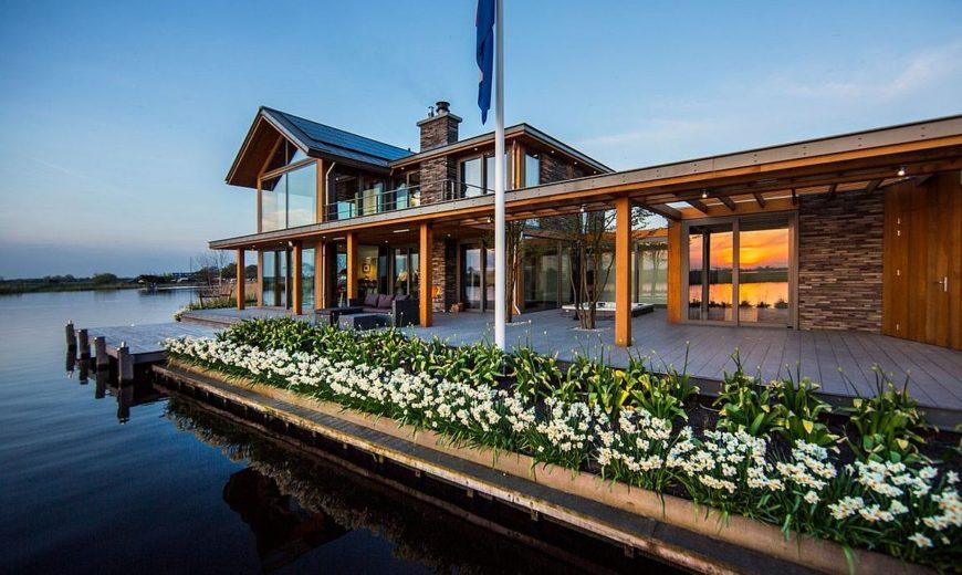 Mesmerizing Contemporary Escape on Water's Edge: Villa Rijpwetering in Holland
