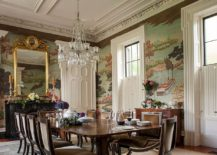 Custom Gracie Studio Wallcovering is the showstopper in this elegant dining room