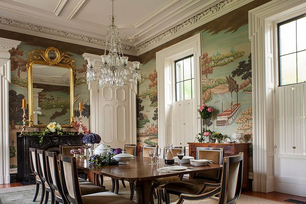 Custom Gracie Studio Wallcovering is the showstopper in this elegant dining room [Design: SLC Interiors]