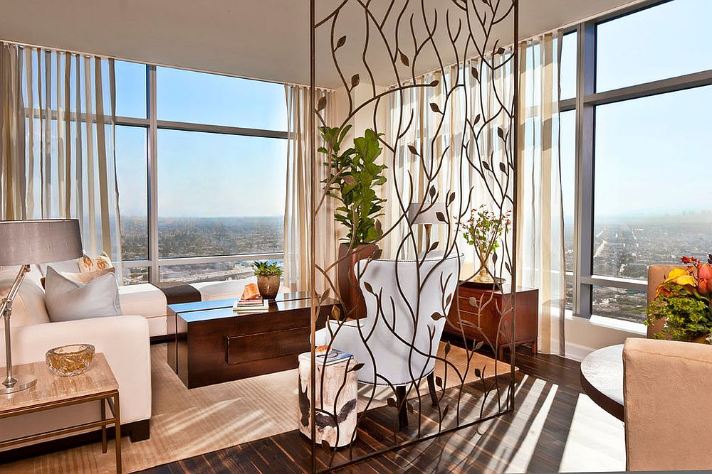 Custom crafted room divider brings a hint of artistic beauty to the living room [Design: SFA Design]