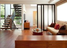 Custom doors used as room dividers can be folded away when not needed