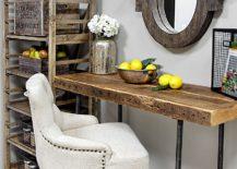 Custom reclaimed wood desk for small home office