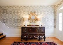 Custom stencil made by Royal Design Stencils replaces wallpaper in this spacious foyer