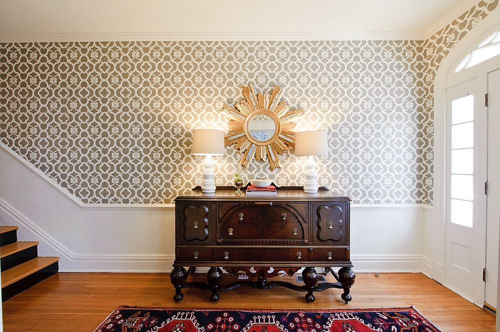 Custom stencil made by Royal Design Stencils replaces wallpaper in this spacious foyer [Design: Kelly Brown Interiors]