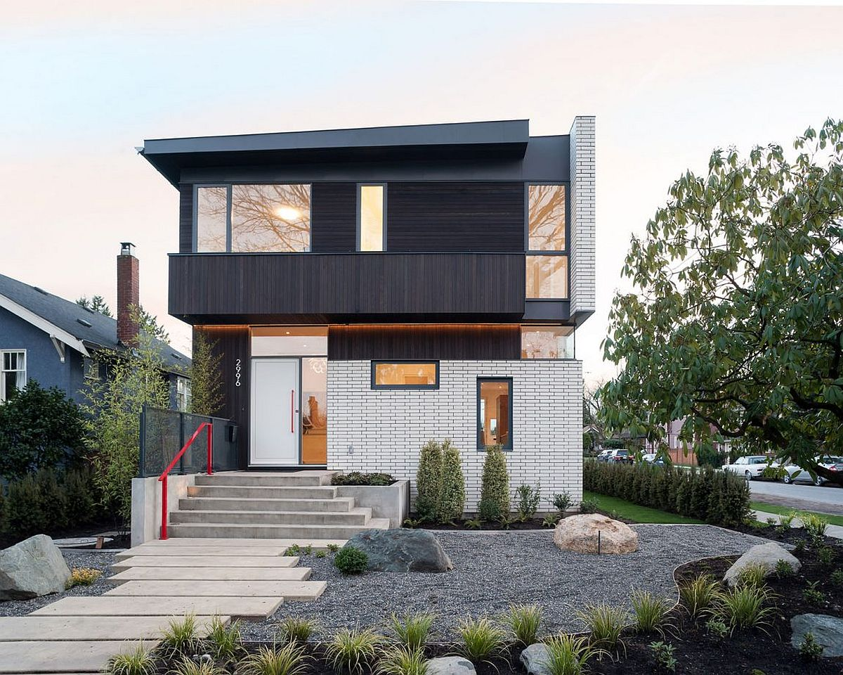 This vancouver home wows with a white brick fa ade and for Brick facade house