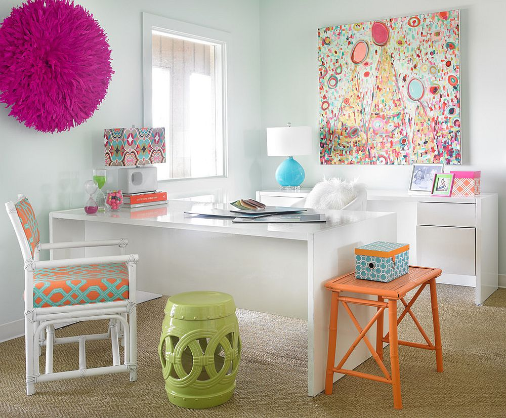Decor and wall art adds color to the white home office [Design: Leigh Olive Mowry-Olive Interiors]