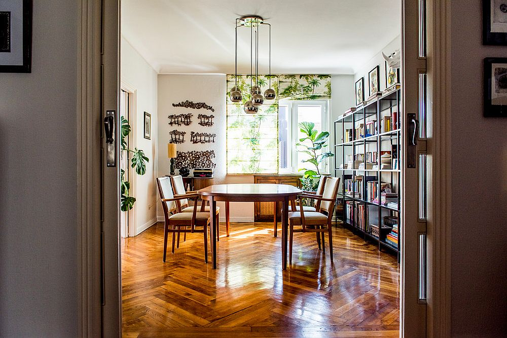 Dining room shades also add a touch of greenery to the dining room [From: Alfredo Arias Photo]