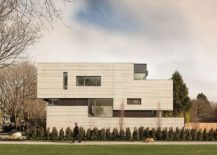 Distinct white brick facade of the fabulous private residence in Vancouver