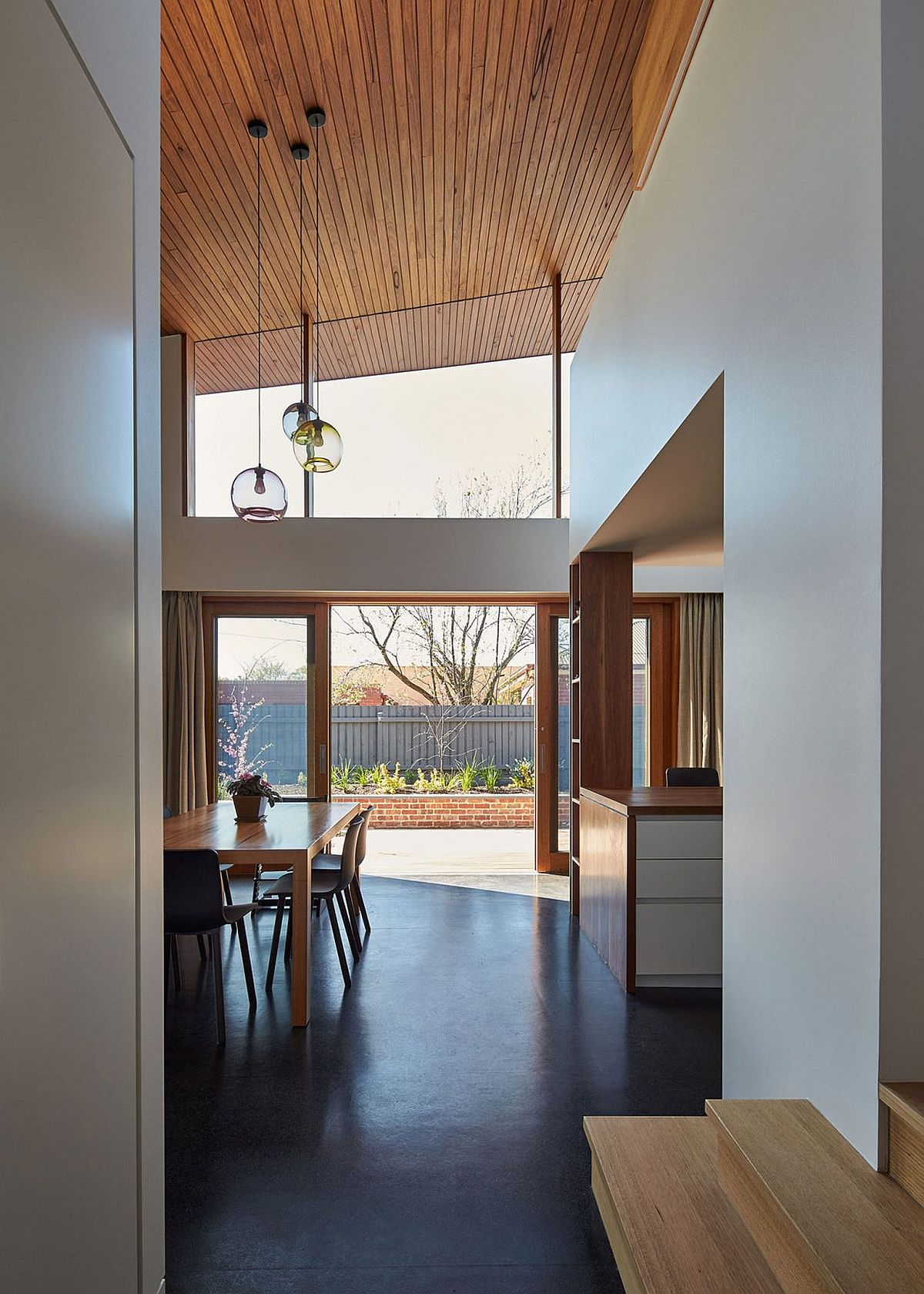 Double height ceiling gives the interior a spacious look