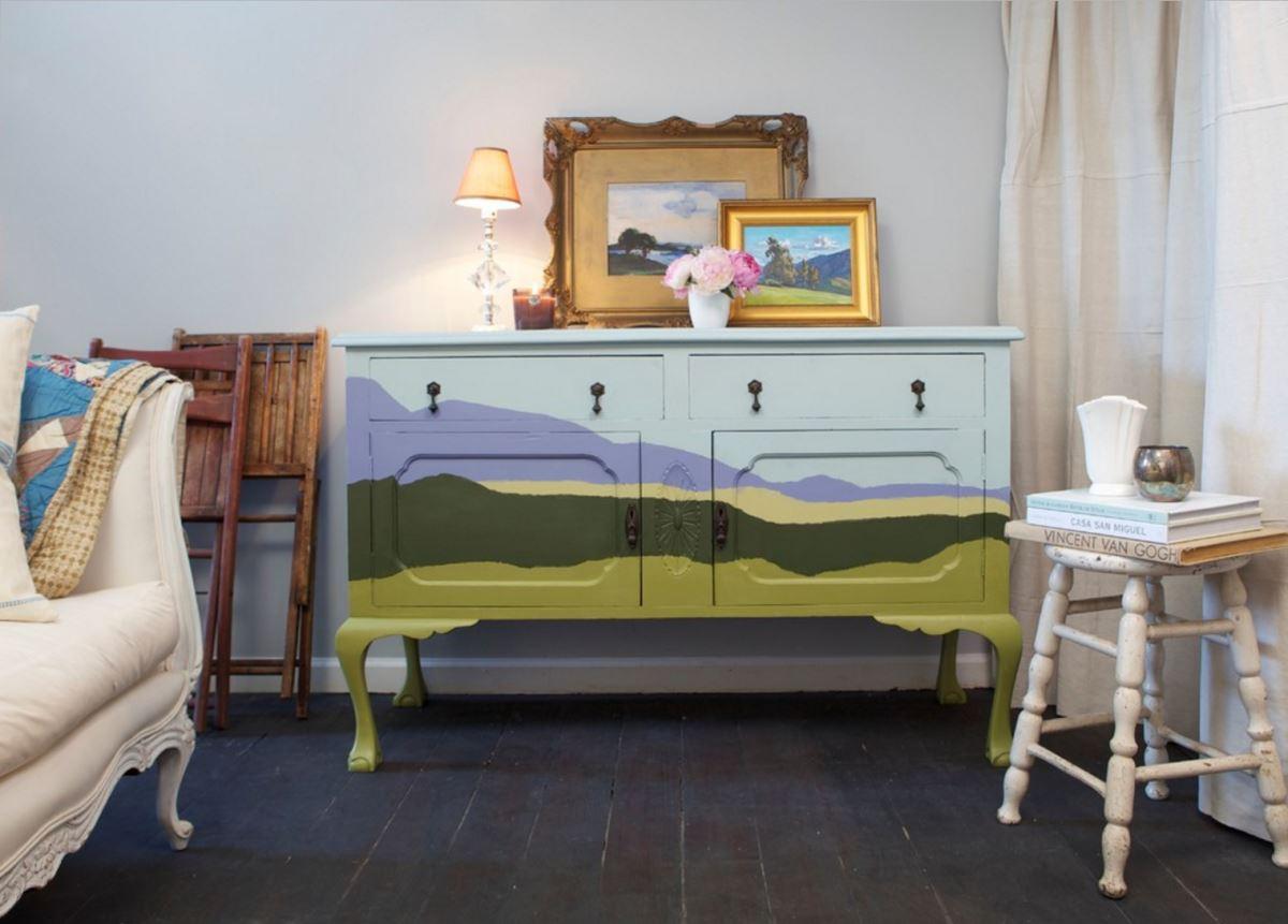 Dresser painted with a landscape motif