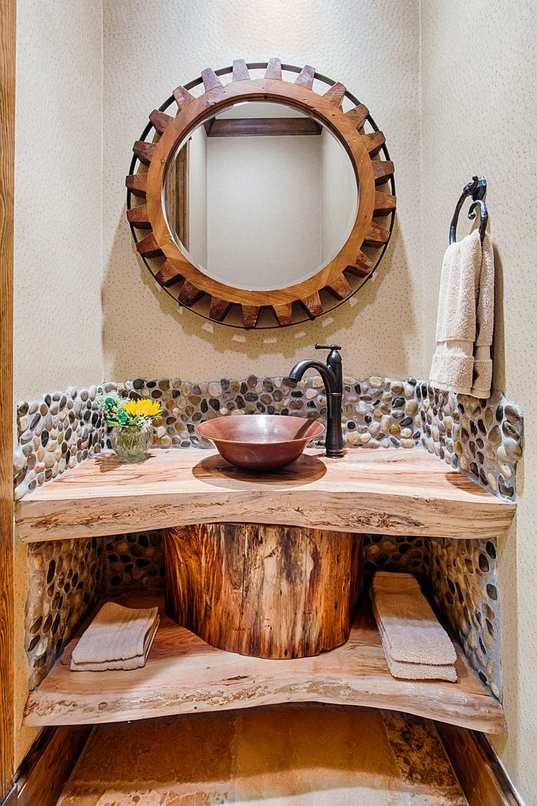 Duel level live edge vanity for the small, rustic powder room [Design: By Design Interiors / Photography: Brad Carr]