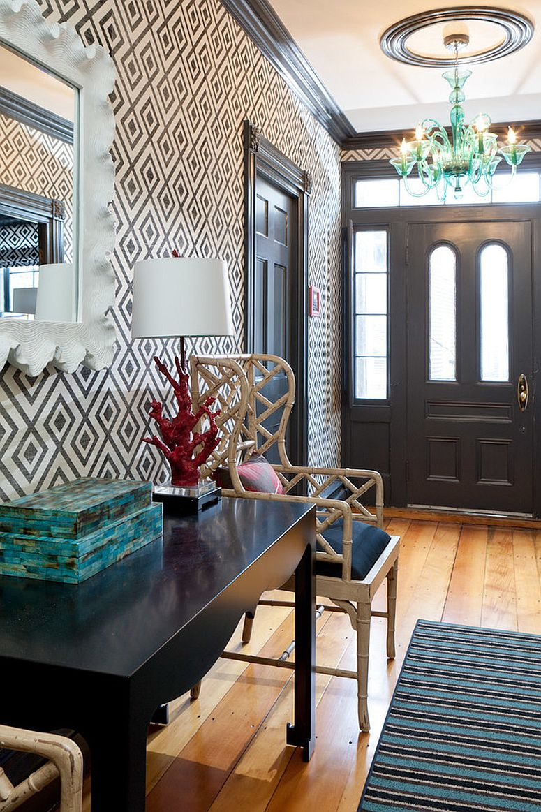Eclectic modern entry with Fiorentina wallcovering from Lee Jofa [Design: Rachel Reider Interiors]