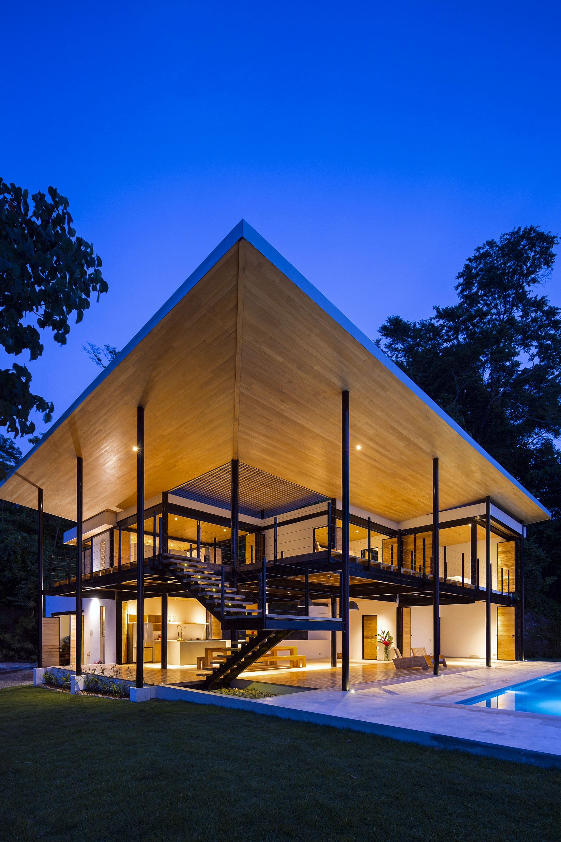 Elegant wooden structure give the home a unique silhouette