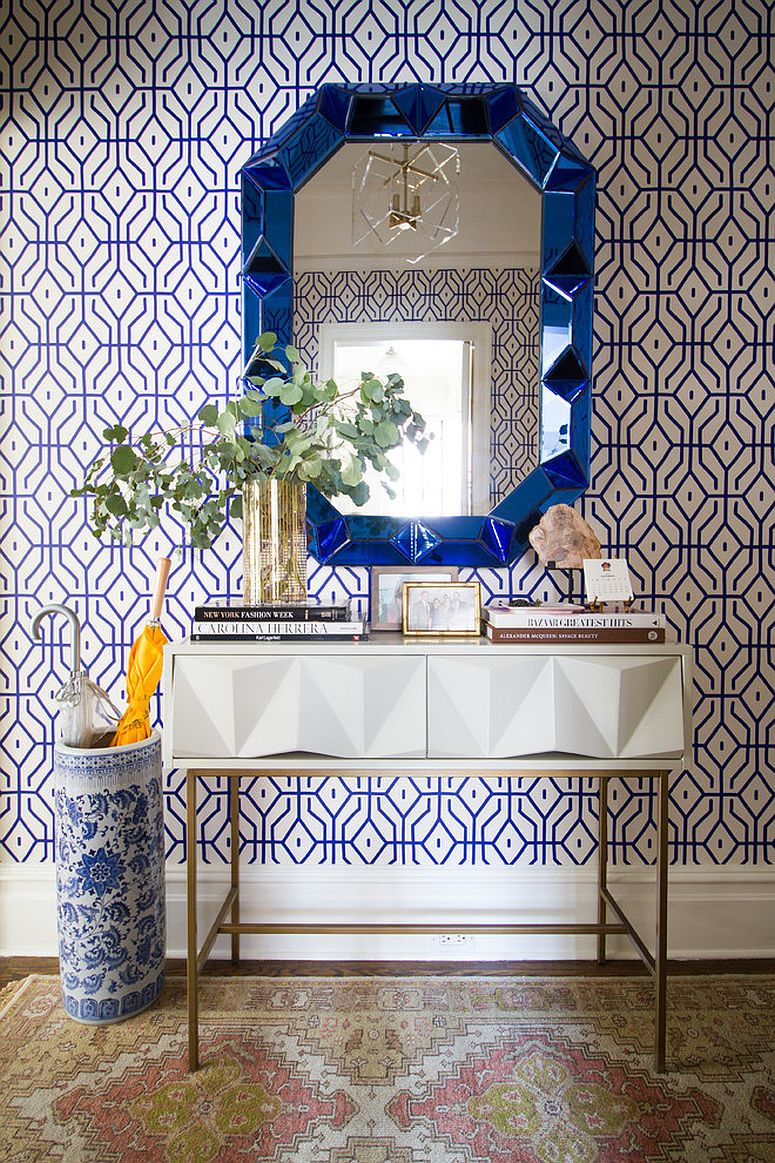 Entry of charming New York home with fabulous wallpaper, mirror and console [From: Murphy Deesign / Jenny J. Norris photography]
