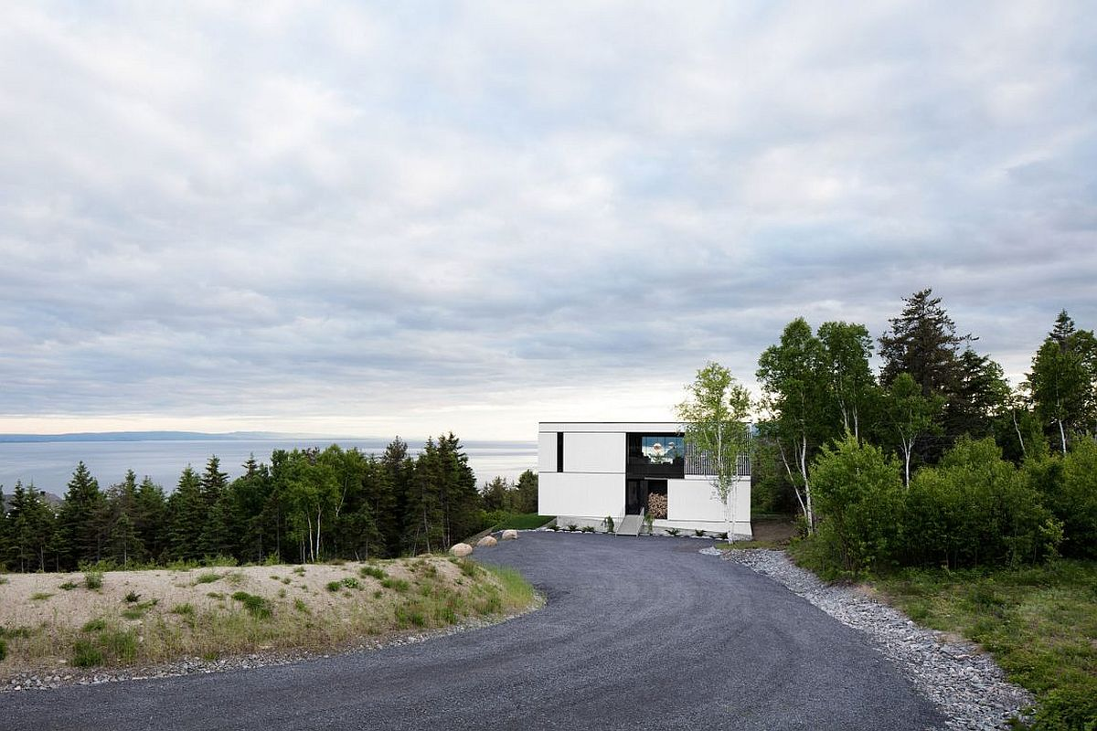Entry to the dreamy modern chalet in La Malbaie, Quebec, Canada