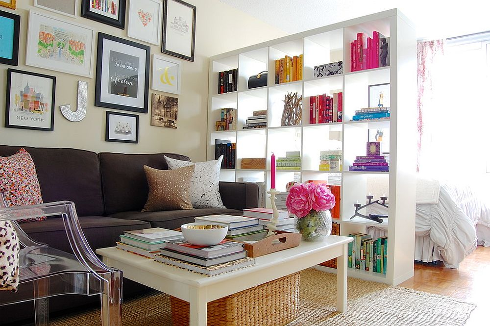 Expedit bookshelf from IKEA used as a room divider in the shabby chic home [From: Corynne Pless Photography]