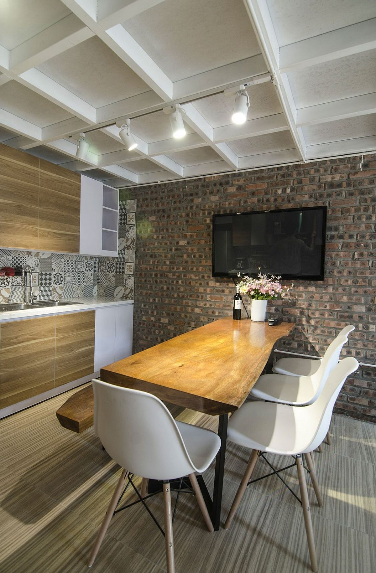 Exposed brick wall and live edge table for the dining room