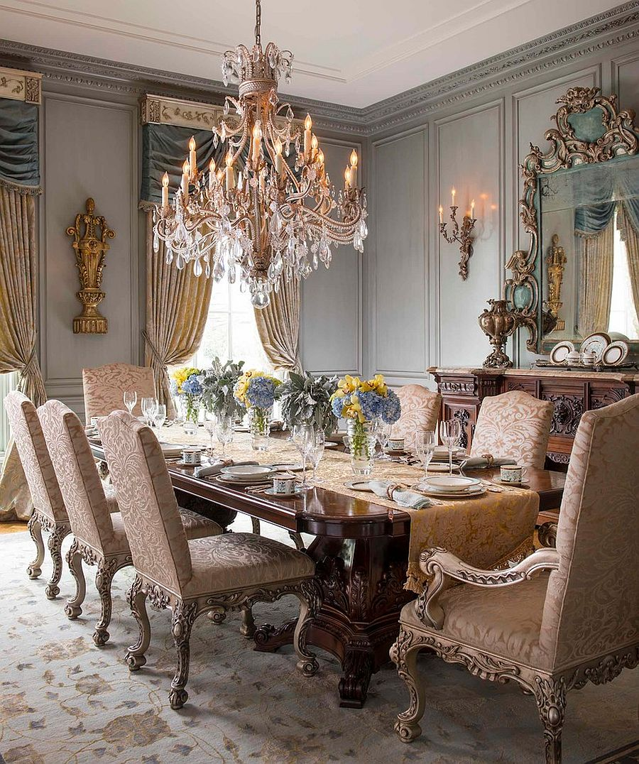 Exquisite Victorian dining room offers timeless class and elegance [Design: Dallas Design Group, Interiors/ Tracy Rasor – Photography: Dan Piassick]