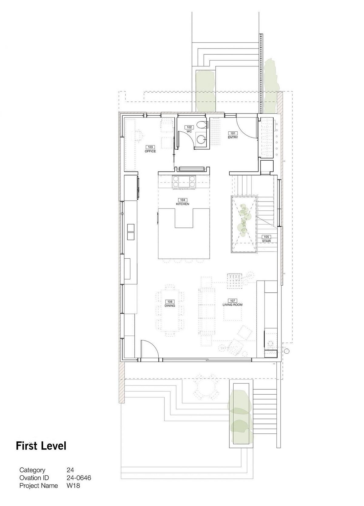 FIrst level floor plan with the living area, kitchen and dining