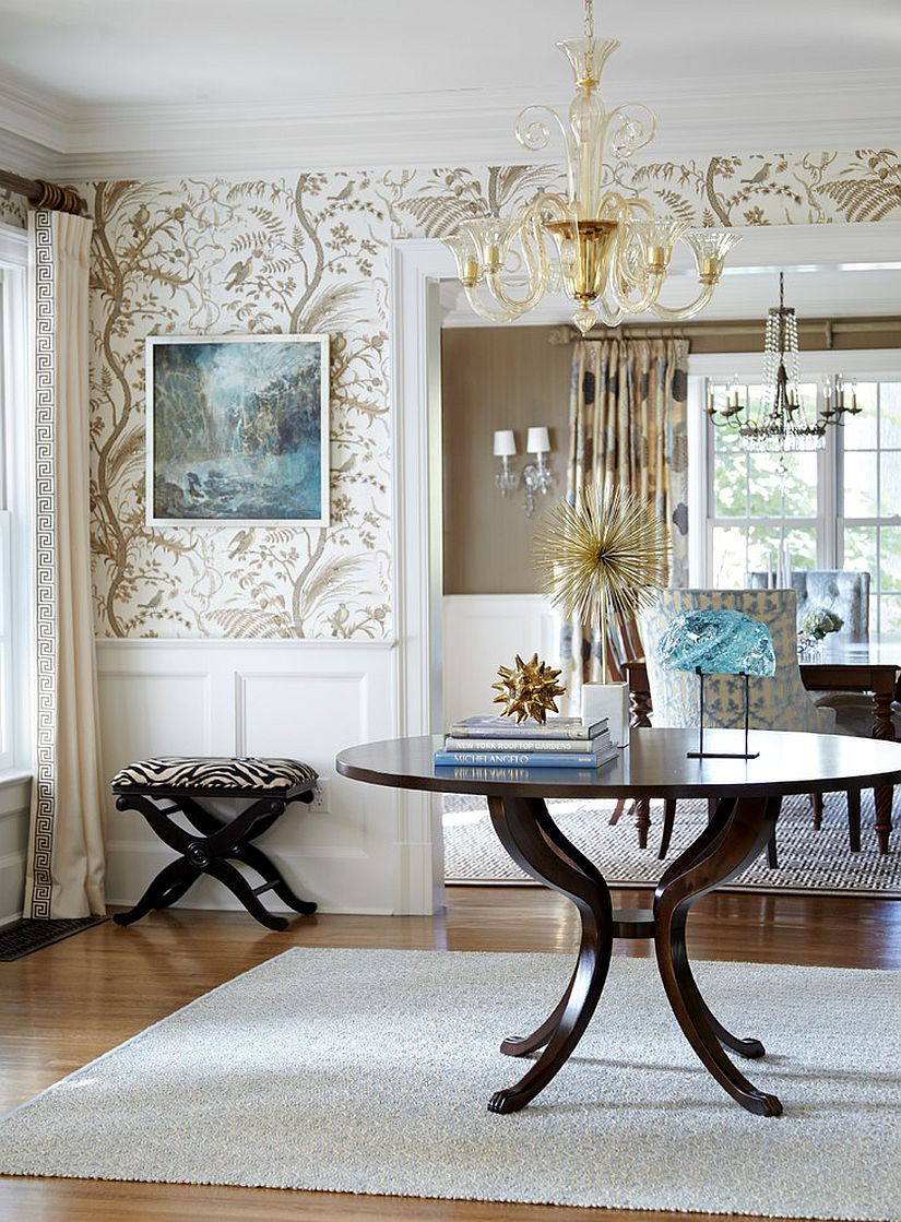 Fabulous entry room with a central table and wallpapered walls [From: Jules Duffy Designs / Laura Moss Photography]